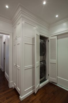 closet washer and dryer with louvered doors