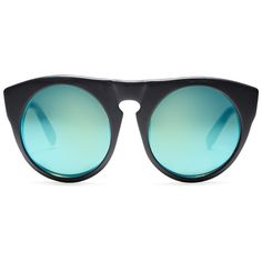 Alexander Wang - Mirror lens round sunglasses ($389) ❤ liked on Polyvore featuring accessories, eyewear, sunglasses, glasses, очки, oversized round sunglasses, over sized sunglasses, thick glasses, oversized sunglasses and oversized glasses