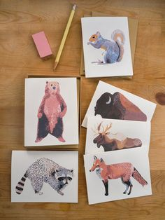 North American Animal Cards Set of 6 by smalladventure on Etsy