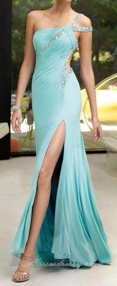 One Shoulder Prom Dress, Blue Red Royal Blue Prom Dress