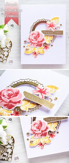 My perfect cardmaking formula. Altenew Cards, Stampin Up Cards, Flower Stamp, Flower Cards, Beautiful Handmade Cards, Unique Cards, Creative Cards, Handmade Card Making, Card Making Techniques