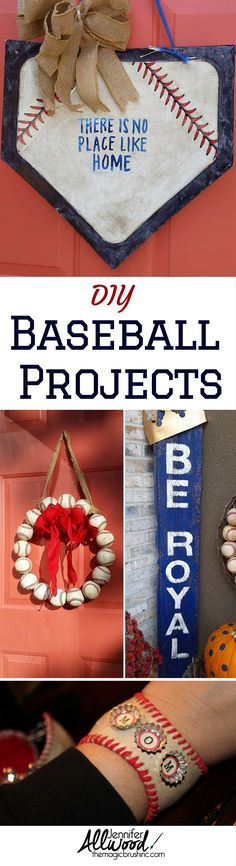 Take me out to the ball game! Tons of baseball-inspired DIY painting projects including: baseball door wreath, painted team barnwood, homeplate door wreath and baseball cuff jewelry! Get inspired and play ball! Baseball Wreaths, Baseball Crafts, Baseball Curtains, Baseball Mom, Baseball Stuff, Royals Baseball, Baseball Party Games, Softball Wreath, Baseball Decorations