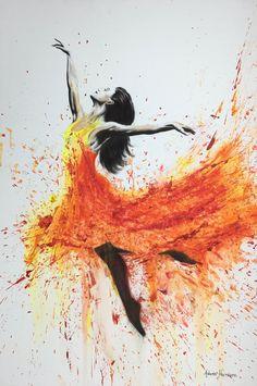 """ art by Ashvin Harrison "" Ballerina Kunst, Ballerina Painting, Ballet Drawings, Fire Painting, Dance Paintings, Ballet Art, Art Folder, Fire Art, Dance Pictures"