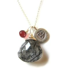 vivid garnet and rutilated quartz necklace by Blue Scarab Jewelry