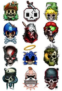 A Temporary Tattoo Series for Hardcore Gamers  This set of skull parody Temporary Tattoos features a great mix of all your favorite iconic video game characters. No 1 Up's or extra lives for these characters, it's GAME OVER!  Series of 12 Tattoo designs includes: Mario Mega Man Mine Craft DK Sonic Metroid Zelda Assas