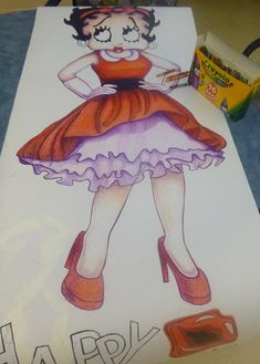 I'm working on my Valentine's Day Betty Boop poster. I'm layering crayons to color her in.