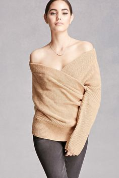 FOREVER 21 Wool-Blend Surplice Sweater