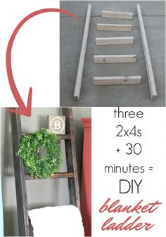 How to build a farmhouse picnic table - DIY Desk Ideen Diy Ladder, Diy Blanket Ladder, Ladder Decor, Blanket Storage, Ladder Display, Quilt Ladder, Ladder Storage, Storage For Blankets, Ladder For Blankets