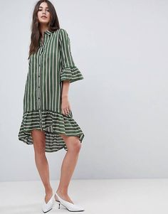 Buy Vila Stripe Shirt Dress With Ruffle Hem at ASOS. With free delivery and return options (Ts&Cs apply), online shopping has never been so easy. Get the latest trends with ASOS now. Dress Anak, Striped Shirt Dress, Stylish Maternity, Couture, Simple Dresses, Designer Dresses, Vintage Dresses, Casual Outfits, Fashion Dresses