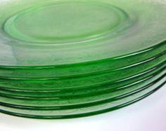 Vintage Green Depression Glass Hazel Atlas Florentine Poppy #2 10 in. Dinner Plate