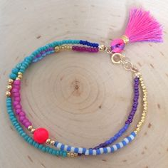 Purple Pink Beaded Friendship Bracelet - Colorful Tassel Bracelet - Seed Bead Bracelet - Double Strand Beaded Bracelet - Stackable Bracelet
