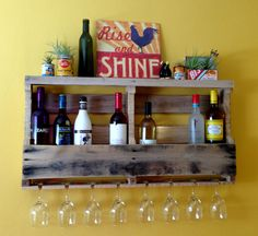 Beautiful addition to any home! This functional and stylish wine rack will definitely draw attention. Racks are made of recycled wood and Small Wine Racks, Unique Wine Racks, Wood Anniversary Gift, Wedding Anniversary, Lexington Home, Diy Tv, Healthy Living Magazine, Bohemian Decor, Entryway Decor