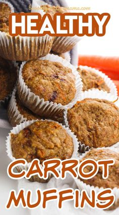 These healthy carrot muffins are perfect for breakfast or anytime! Plus the recipe calls for applesauce and honey so no sugar is needed at all!