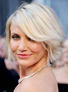 Cameron Diaz Hairstyle- Chic short blonde bob cut with bangs