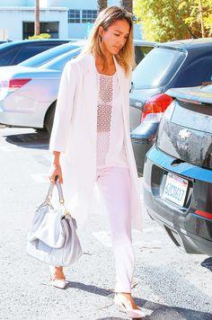 Jessica Alba all white outfit