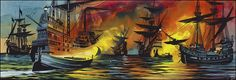 The Fire Ships of Trafalgar (Original) by Ron Embleton