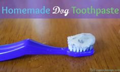 DIY And Crafts: Homemade Dog Toothpaste. This easy and frugal dog toothpaste uses coconut oil, mint leaves and a few other ingredients to keep your pup's breath fresh! #diy #homemade #dogs