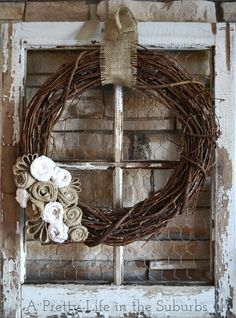 DIY:  How to Repurpose an Old Window + How to Make Burlap Flowers - via A Pretty Life in the Suburbs