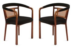 Pair of Edward Wormley for Dunbar occasional chairs, circa early These examples have subtly curved and tapered walnut frames with inset wicker backs and heathered bouclé black upholstery. Dining Room Table Chairs, Upholstered Dining Chairs, Side Chairs, Wayfair Kitchen Chairs, Gold Accent Chair, Chair Sofa Bed, Black And White Chair, Wood Toys Plans, Restaurant Chairs For Sale