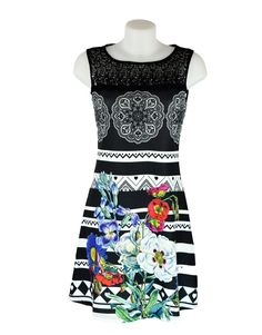 101 Idees Black & White Stripey Floral Dress £29.99 Another individual design from French Brand 101 Idees. Pretty black & white stripes & floral mix flattering A line dress.