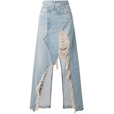 23e5a20ce1 R13 Harrow distressed denim maxi skirt (11.169.795 IDR) ❤ liked on Polyvore