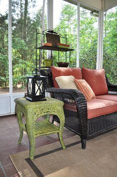 Screened porch ideas- I like the lantern decor