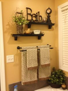 Excellent Image of Cute Towel Shelf In The Master Bathroom. Based on what mood you need to create in your bathroom, you can opt for colors related to it. If you would like a bathroom which is both efficient and. Primitive Bathrooms, Rustic Bathrooms, Small Country Bathrooms, Chic Bathrooms, Bathroom Wall Decor, Bath Decor, Bathroom Ideas, Bathroom Shelves, Antique Bathroom Decor