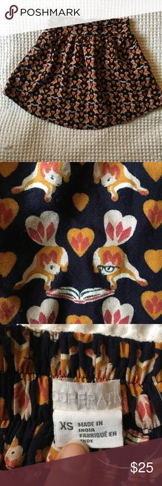"""Urban Outfitter Cooperative Squirrel Mini Skirt This mini is a size XS and is 16"""" in length, and has an 11"""" waist made for someone VERY tiny. This print is possibly the cutest I have seen to date though... There are two squirrels reading and in love <3 One even has a set of glasses. HOW CUTE?! Hope this goes to a good home! Love this item, but not the price? I usually take reasonable offers. Or make me a bundle and save! I have a lot of cute things in my closet! Take a look around. Happy…"""
