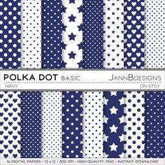 Navy POLKA DOT  BASIC Digital Paper Pack  12x12  by JAnnBdesigns