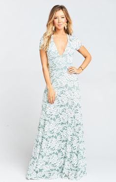 Show Me Your Mumu Eleanor Maxi Dress ~ Lovers Lace Silver Sage - ShopStyle Evening Wedding Guest Gowns, Boho Wedding Dress, Boho Dress, Wedding Dresses, Wedding Bouquets, How Many Bridesmaids, Lace Bridesmaids, Pale Green Weddings, Tropical Weddings