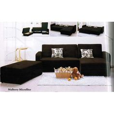 817 91 Sectional Sleeper Sofa With Storage And Pillows Dark Brown