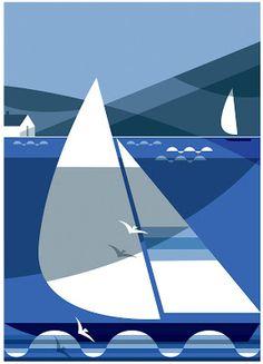 Shadow Racers Print by Andrew Pavitt Boat Illustration, Landscape Illustration, Pop Art, Print Wallpaper, Art Graphique, Japanese Prints, Fabric Painting, Illustrators, Sailing