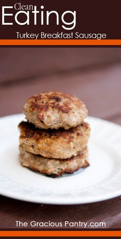 Clean Eating Turkey Sausage from the gracious pantry. I followed the recipe but added nutmeg (I love nutmeg on my turkey because it gives it a homey, cozy feeling). I also cooked using coconut oil and then brushed maple syrup over them (1tsp for all 12) to bring them closer to those found at the grocery store. Super good!!