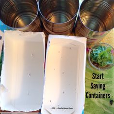 NEW ORGANIC GARDENERS: starting seeds indoors? Save milk cartons, cans(not ones lined with plastic) and have glass jars ready for regrowing kitchen scraps, like green onions, celery, lettuces, cabbages & beets