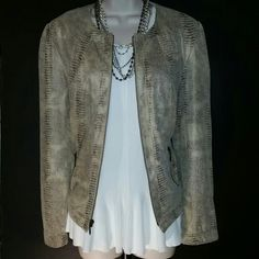Bronze Metallic Reptile Print Jacket Waist length light jacket. Reptile print with a very soft suede - like feel. Fully lined with bronze zipper closure and pocket detail. 100% polyester.  Great condition. Size medium Investments Jackets & Coats Blazers