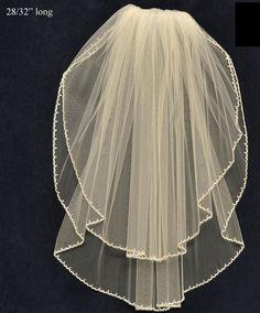White Ivory Rhinestone Silver Beaded Edge Bridal Fingertip Double Layer Veil