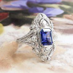 Vintage Sapphire Diamond Ring 2.10ct t.w. Circa 1930's Art