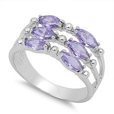 925 Sterling Silver CZ Six Marquise Patterned Simulated Amethyst Ring