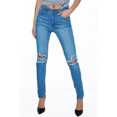 Boohoo Blue Grace Busted Knee Skinny Jeans ($35) ❤ liked on Polyvore featuring jeans, pants, blue, white distressed jeans, high rise skinny jeans, high-waisted boyfriend jeans, white ripped jeans and high-waisted skinny jeans