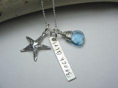 Beach Necklace - Sterling Silver Beach Jewelry - Beach Girl Gift - Beach Starfish Jewelry on Etsy, $65.00