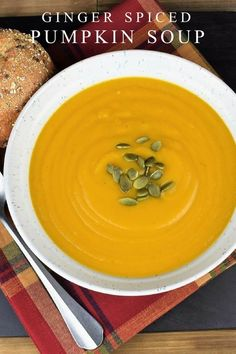 This ginger spiced pumpkin soup is the perfect way to get in the mood for Fall. It's really easy to make and full of wholesome ingredients. With fresh pumpkin, onions, carrots, celery, garlic, and ginger, it's not short on flavor! Pair the pumpkin soup with a nice piece of bread for a light, yet satisfying dinner. #gingerspicedpumpkinsoup #pumpkinsoup #easypumpkinsoup #fallrecipes #pumpkinrecipes via @cook2eatwell