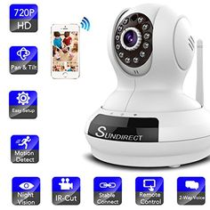 Sundirect HD720P Wireless Wifi IP Network Home Security Camera,Baby Monitor, Plug/Play, Pan/Tilt, Night Vision and Two-Way Audio with Remote Surveillance Video Monitoring - $159.99