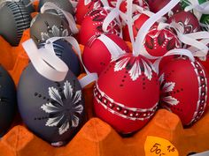 Handpainted (and real) Easter eggs. Easter Market, Slovakia