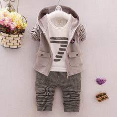 dd245d58ba2be 3 pieces Set Baby Boys Spring Autumn Sports Suit Cotton Tracksuits Kids Clothing  Sets Casual Clothes Hooded Coat+ Pant +T-shirt