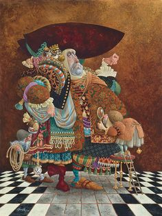 "James Christensen ""A Lawyer More than Adequately Attired in Fine Print""     James C. Christensen's sold-out paper lithograph print of this image graces the walls of scores of attorneys (who, fortunately, all have a great sense of humor.) Now the popular send-up of lawyers is available in a Fine Art Canvas Anniversary Edition."