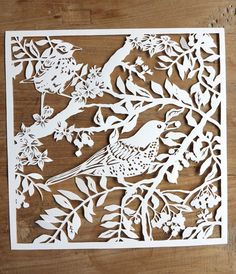 Original handmade papercut of birds in branches unframed. €63,00, via Etsy.  #etsylokaal