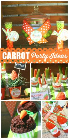 This sweet Easter party features cute, orange carrots in treats, decor and more!  See more party ideas at CatchMyParty.com!