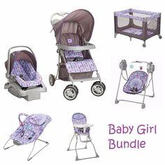 Newborn Baby Set Infant Girl Shower Gift Stroller Play Yard Purple Playard New