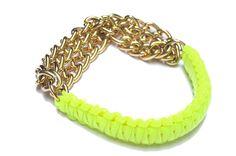 Neon Cobra Gold chain bfrend bracelet by doctorscloset on Etsy, $46.00