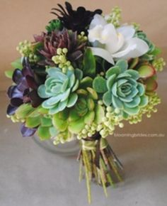 Succulent arrangements for food and guest book tables